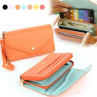 2017 Luxury Brand Long Wallet Clutch Women's Wallet PU Leather Purse Bag Cell Phone Zipper Pocket Coin Female Pouch Colorful Y2