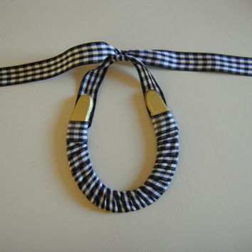 Hand Painted Gold Horseshoe Wrapped With Black & White Gingham Plaid Ribbon-Valentine's Day Gift-Love luck gift