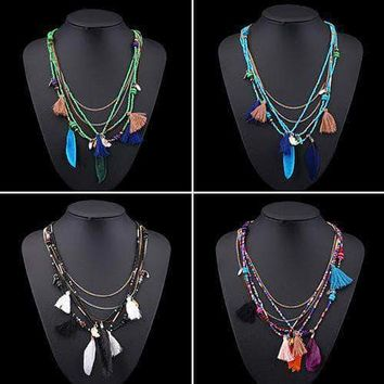 Women's Boho Ethnic Style Feathers Tassels Beads Multi-layer Chain Necklace