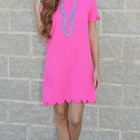Pretty In Pink Scalloped Dress