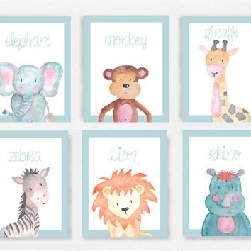 Safari animal nursery decor, Blue and white boys room, Monkey picture, Baby animals nursery, Safri theme decor, Boys nursery prints #232A