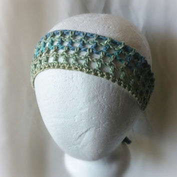 Blue Linen crochet headband  Teal lime green  hair tie Lacey cotton hair band Feminine hair scarf Boho hair scarf Rockabilly neck scarf