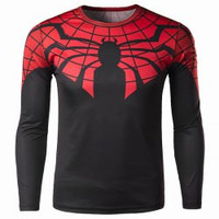 Color Block Spider-Man Print Long Sleeve T-Shirt