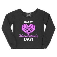 Meowentine's Day Tee-Female Black Hoodie