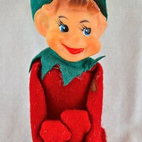 "Vintage Knee Hugger Pixie Elf Christmas Ornament 8"" Red Elf with Top Hat"