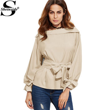Sheinside Women Business Casual Clothing Ladies Office Shirts Khaki Foldover Boat Neck Belted Waist And Cuff Blouse