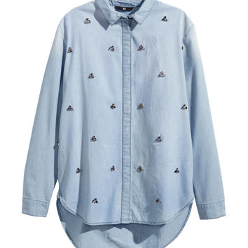 H&M - Denim Shirt with Rhinestones - Light denim blue - Ladies