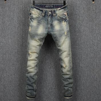 Men Ripped Holes Slim Denim Jeans [748306727005]