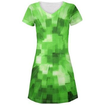 PEAPGQ9 World Game Builder Forest Blocks All Over Juniors Beach Cover-Up Dress