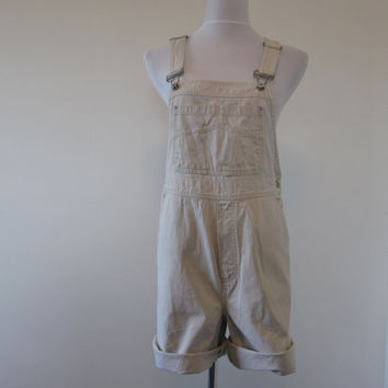 Vintage Gap Overall Shorts Tan Bib Overalls Work Dungaree Shorts Womens Medium Tan Jean Shorts