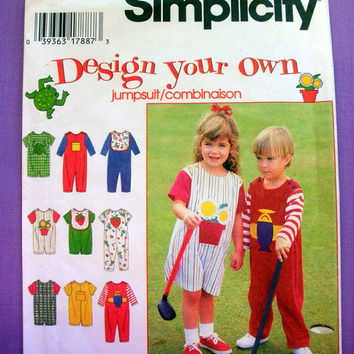 Toddler Jumpsuit and Bib Toddler Size 1/2, 1, 2 Simplicity 9525 Sewing Pattern Uncut