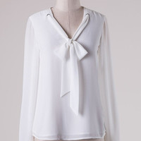 Off White Long Sleeve Top with Tying Bow