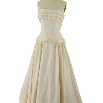 50s Strapless Embroidered Champagne Silk Wedding Gown-XS/S