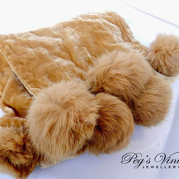 Carmel Brown Silk/Viscose Scarf/Shawl Wrap, Vintage Scarf With Fur Pom Poms Stunning By Danier
