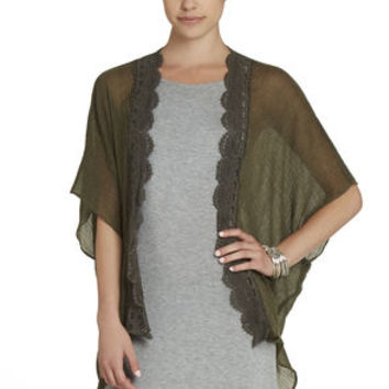 Solid Crochet Kimono in Green - BCBGeneration