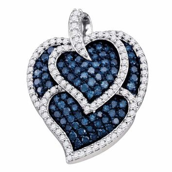 10kt White Gold Women's Round Blue Color Enhanced Diamond Tripled Heart Outline Pendant 1.00 Cttw - FREE Shipping (US/CAN)