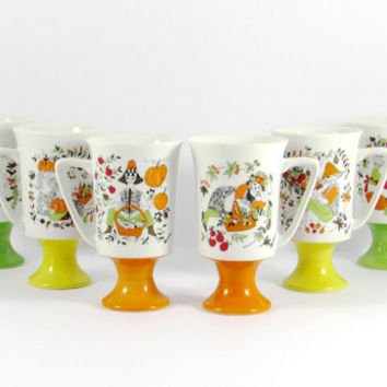 Vintage, Retro Sicilia Arnart Footed, Pedestal Mugs, Green, Yellow, Orange, Smug Mug, Maria, Kitschy, Harvest Scenes, 1970s