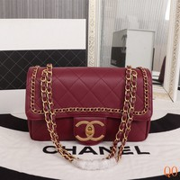 HCXX 19Aug 103 8185 Fashion Casual Chain Classic Logo Shoulder Flap Bag 27-13-11cm Red