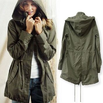 DCCK8H2 Green Womens Lady Hoodie Drawstring Military Trench Jacket Coat Parka Outwear