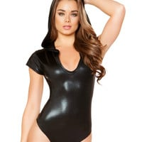 Black Shiny Short Sleeve Hooded Bodysuit