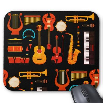 Black Vintage look musical instruments mouse pad