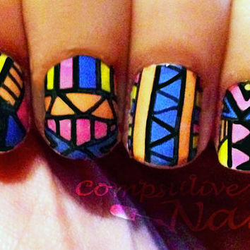Nail polish strips. TWO SETS of Nail decal wraps. Bright Tribal Nail Art.