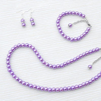 Pearl necklace: Purple pearl set, necklace, bracelet and earrings. Great for wedding, bridesmaid and gift for her, for mum and teacher