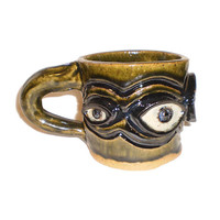 Eye Coffee Cup (3) - Stoneware Clay Slab Pot With Pattern of Molded Eyes