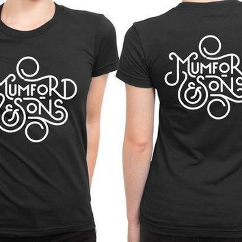 Mumford And Sons Title Art Black And White 2 Sided Womens T Shirt