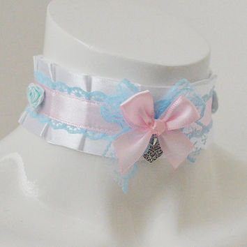 Ddlg cgl collar - Cutie pie - little princess lolita choker pet kitten play - kawaii cute fairy kei harajuku white blue and pink