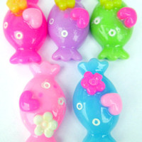 Kawaii Cabochon Rainbow Candy Deco Pieces 5 Pieces