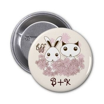 BFF - Best Friends Forever Cute Animal Kids Ivory 2 Inch Round Button