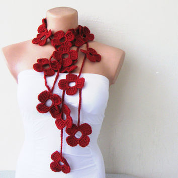 Red Ruby Flower Hand Crochet Lariat Scarf by fairstore on Etsy