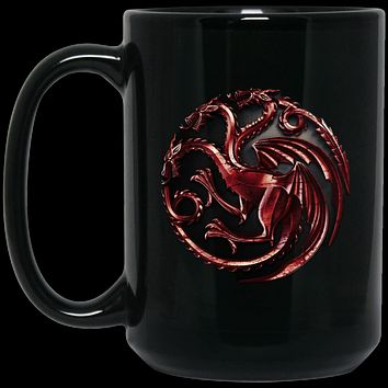 House Targaryen Red Dragon Sigil BM15OZ 15 oz. Black Mug