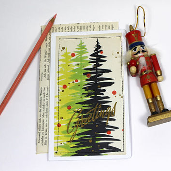 greeting card vintage with envelope | Christmas | handmade upcycled | greetings tree