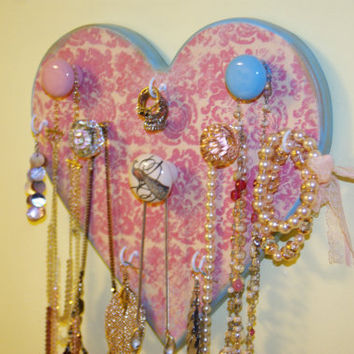Shabby Chic Heart Shaped Jewelry Hanger, Necklace Hanger, Pink Damask, Light Blue 5 Knobs 5 Hooks