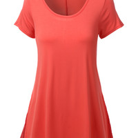 LE3NO Womens Lightweight Short Sleeve Tunic Top with Chiffon Back (CLEARANCE)