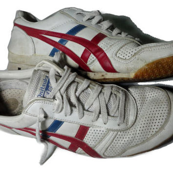 vintage Onitsuka Tiger White Running Sneakers 10 1980s ASICS Tigers
