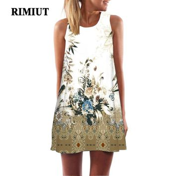 Rimiut S-2XL Big Size Loose Vintage Floral Art Printed Women Summer Mini Dresses Casual O-neck Sleeveless Bohemian Beach Dress