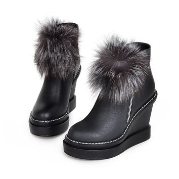 Shake Your Pom Pom Black Wedge Ankle Boots