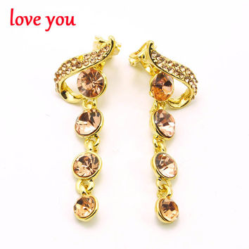 2 colors choose CZ rhinestone long clip earrings without piercing gold plated lead free earrings fine jewelry luxury accessories