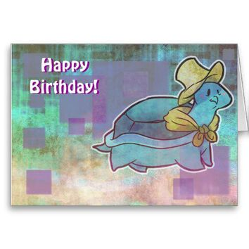 Birthday Card Straw Hat Turtle from Zazzle.com