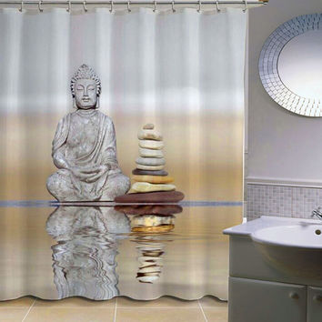 Buddha Printing Shower Curtains 12PCS Hook