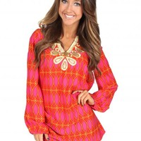 Hey There Delilah Cranberry And Orange Tunic | Monday Dress Boutique