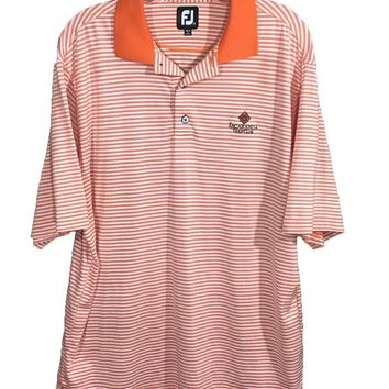 FootJoy FJ Orange White Striped Jacaranda Golf Club Polo Shirt Mens Medium M - Preowned