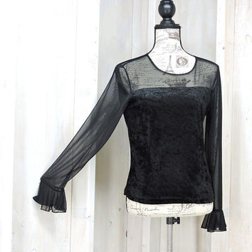 Black velvet top / size L / vintage 80s / sheer sleeves / Carol Rose made in USA