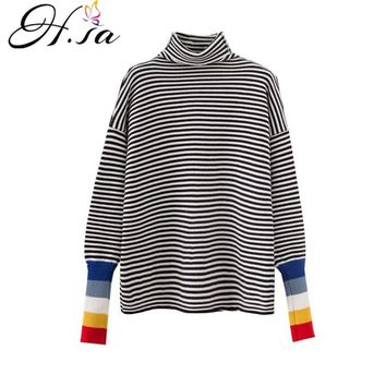 HSA 2018 Turtleneck Sweater and Jumpers Rainbow Pull Jumpers Ugly Christmas Sweaters Black White Striped sueter mujer invierno