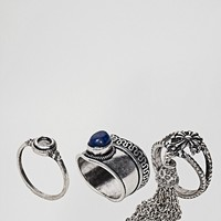 Sacred Hawk Stone Ring 3 Pack at asos.com