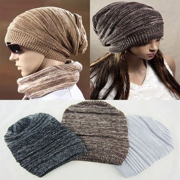 HOT Unisex Womens Mens Knit Baggy Beanie Beret Hat Winter Warm Oversized Ski Cap = 1958463556