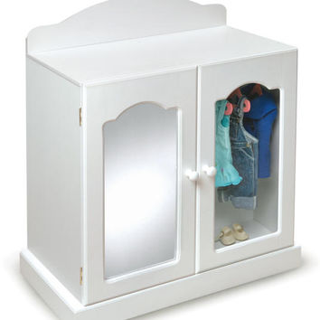 Doll Mirrored Armoire in White